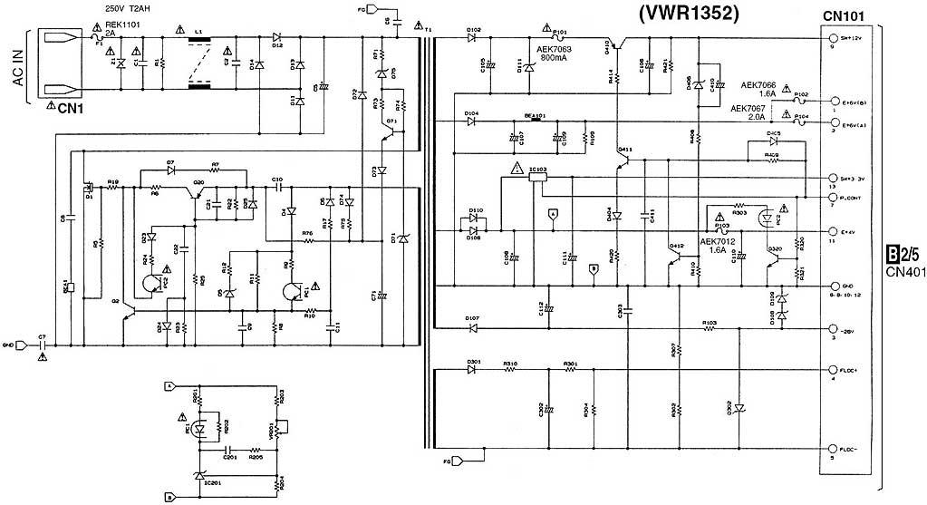 Схема БП vwr1352 DVD-плеера