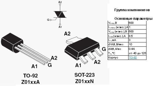 ТТХ симистора для починки модуля